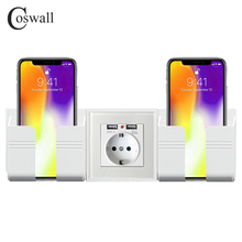 Coswall Wall Socket Phone Holder Smartphone Accessories Stand Support For Mobile Phone Apple Samsung Huawei Two Phone Holder cheap CN(Origin) Wall Mounted CS-WPS-S1-02-11 12 Wall mobile phone stand holder White Gold Black Grey EU UK standard wall socket