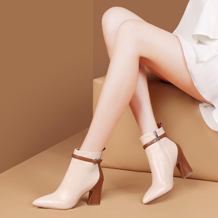 Botas Cinturón Tacones Tobillo Zapatos Hebilla Color blanco Alta Punta Cuero Mujer De Marrón Con Para Invierno Blanco Negro Cuadrados Elegante 4qa1awInAx