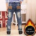 Pantalones vaqueros del muchacho, además de terciopelo grueso pantalones vaqueros de los muchachos de Primavera y Otoño 2016 nueva ropa de los niños grandes de alta calidad