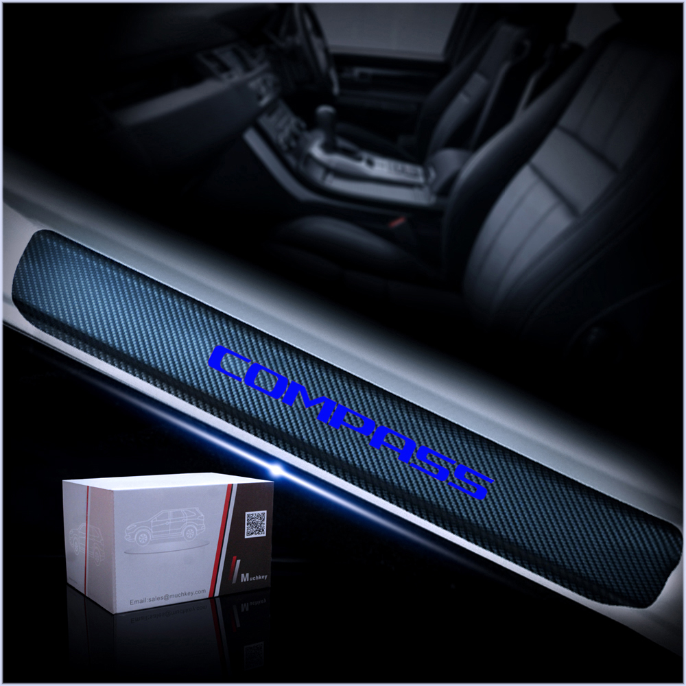 For JEEP Grand Cherokee Compass Patriot Srt Door Sill Protector Reflective 4D Carbon Fiber Sticker Door Entry Guard Door Sill Scuff Plate Stickers Auto Accessories 4Pcs Red