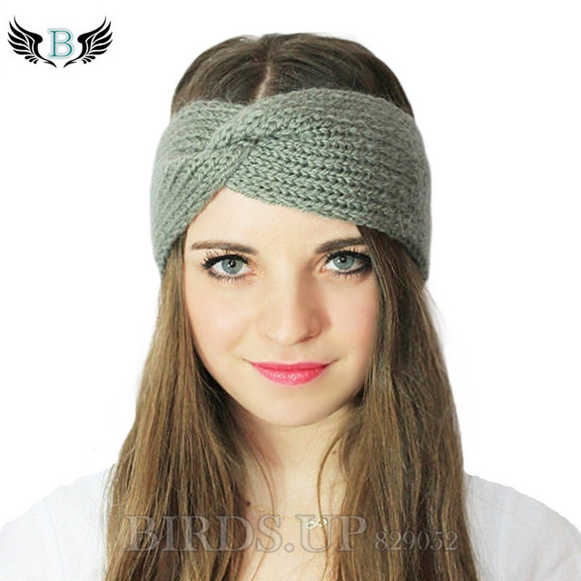079e104d004 Winter Knitted Twist Headband For Women Girls Warmer Ear Wool Turban  Hairband Headwrap Bandage Hair Accessories Haarband Bandeau