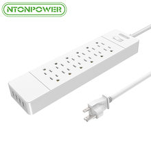 NTONPOWER USP Power Strip Surge Protector US Plug 12 AC Outlets USB Charger 4 Ports, Hanging Slot for Mounted, 1.5M Power Cord