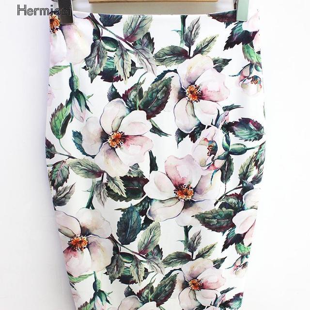 Hermicci 2018 Summer Style Pencil Skirt Women High Waist Green Skirts Vintage Elegant Bodycon Floral Print Midi Skirt 2