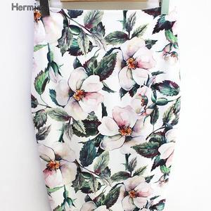 Image 2 - Hermicci falda de estilo veraniego para mujer, faldas de estilo veraniego, de cintura alta, en color verde, con estampado Floral, Estilo Vintage, ceñida, Midi, 2018