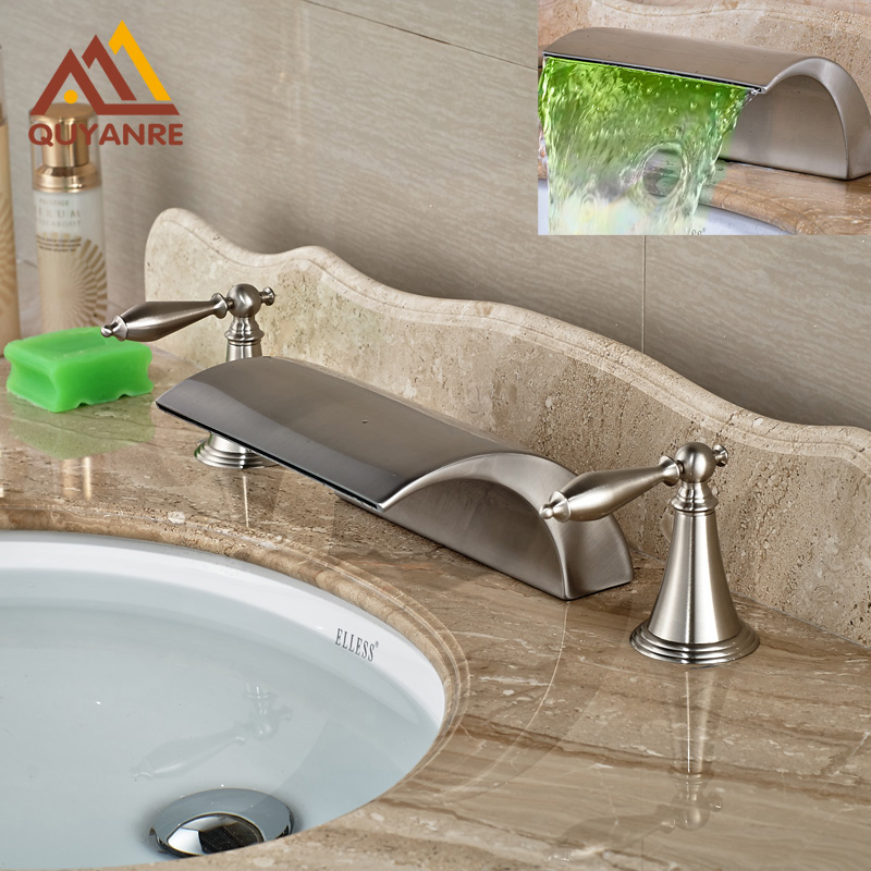Led Color Changing Brushed Nickle Basin Faucet Hot and Cold Water Faucet Waterfall Spout Dual Handle Tap gizero free shipping orange spring kitchen faucet brushed nickle finish single handle hot cold water crane mixing tap gi2069