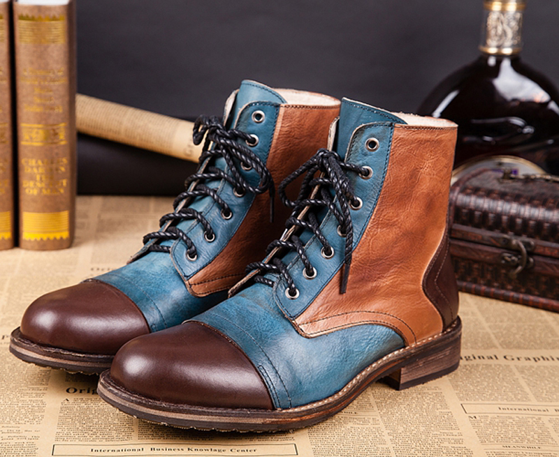 2016 New Arrival Genuine Leather Motorcycle Men Cowboy Boots Lace High Top Ankle Boots Men Shoes Autumn Winter Leather Men Boots