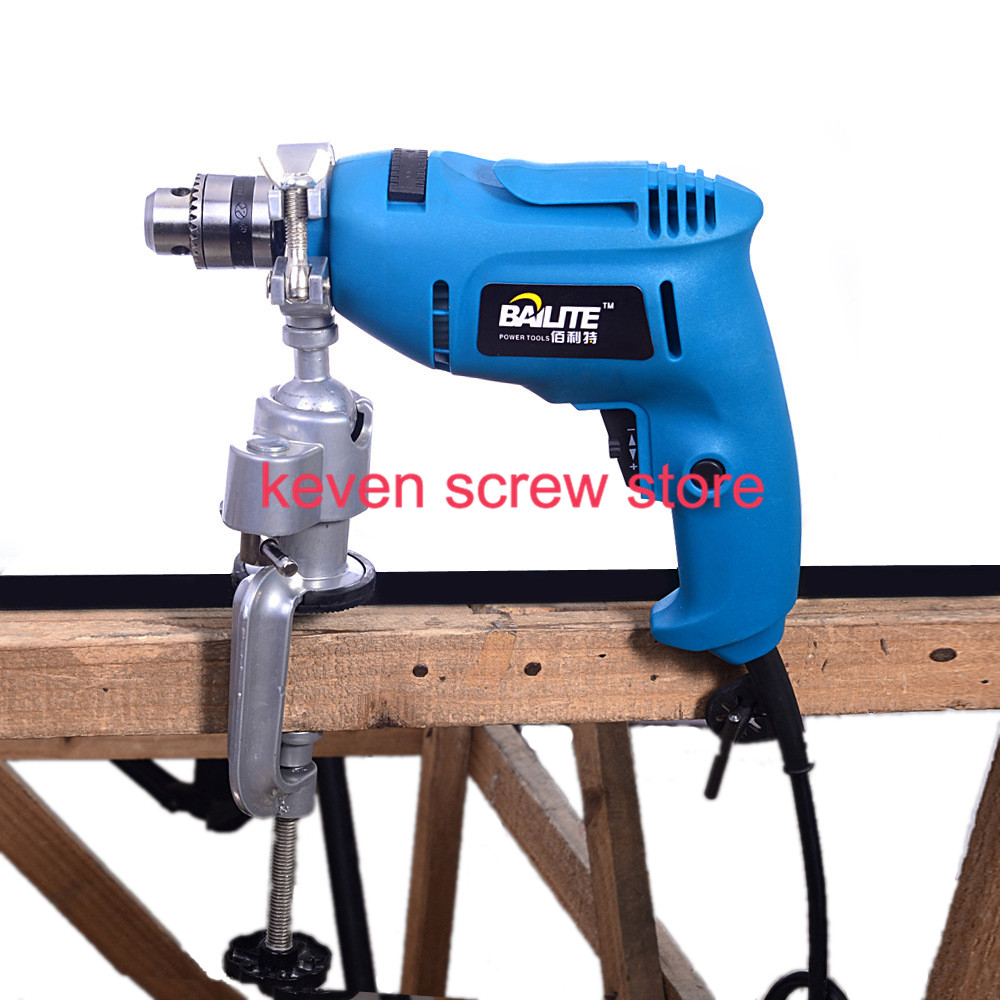 1pcs 8008 Universal Clamp-on Bench Vises Holder Mini Electric Drill Stand Make the Grinder Flat 360 Rotating for Woodworking