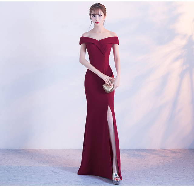 41cd69d5f71 2019 Burgundy Summer Dress Women Long Elegant Trumpet Sexy Club Female Prom  Gown Split Vestido Slash Neck Maxi Dress Vestido