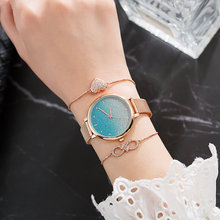 Wholesale Quartz Watch Woman Starry Gradient Fresh Blue Powder Watch + 2 Piece Rose Gold Zircon Bracelet Watch Set цены онлайн