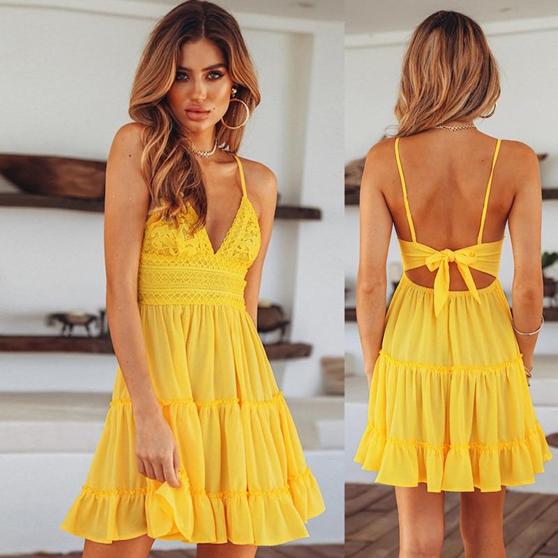 Summer Women Lace Dress Sexy Backless V-neck Beach Dresses 2020 Fashion Sleeveless Spaghetti Strap White Casual Mini Sundress 2