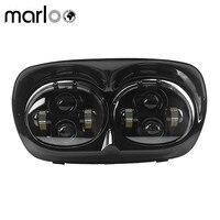 Marloo Dual LED Headlight Harley Road Glide Motocycle Projector Daymaker For Harley Davidson Road Glide Headlamp 04 13