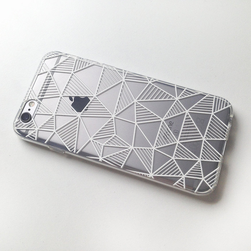 Geometric Stripes Triangle Black And White Soft Clear