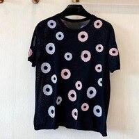 Летняя женская футболка 2019 с круглым вырезом Женская Геометрическая Печать с коротким рукавом Футболка Повседневная хлопковая женские фут