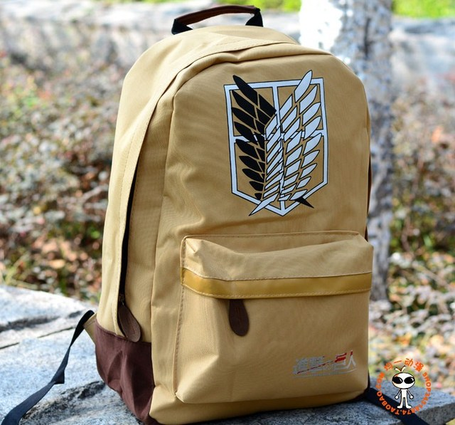WHOLESALE&RETAIL canvas school bag! Japan anime Attack On Titan cartoon Backpack tactical bag