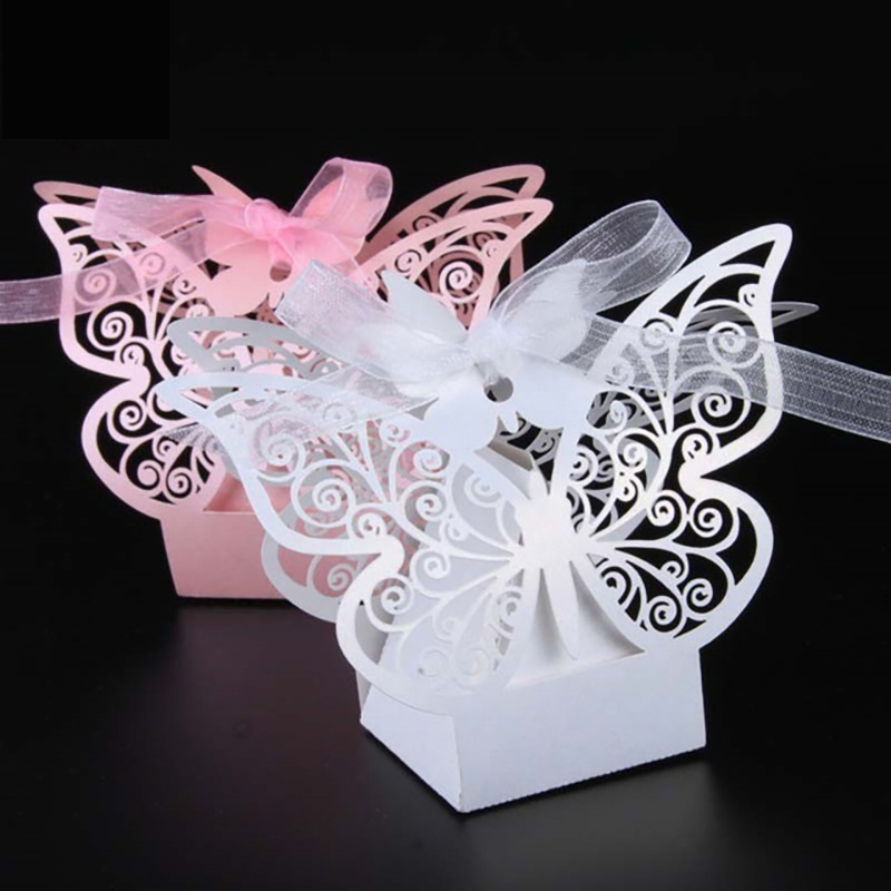25pcs Hollow Out Cute Butterfly Paper Candy Box Wedding Party Supplies Chocolate Box