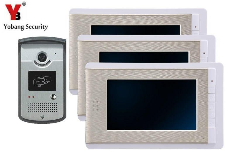 YobangSecurity 7 Inch Video Door Phone Intercom Doorbell Home Entry Intercom System Kit 3 Monitors 1 Camera With RFID ID Keyfobs