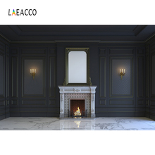 Laeacco House Interior Fireplace Wall Marble Floor Photography Backgrounds Customized Photographic Backdrops For Photo Studio