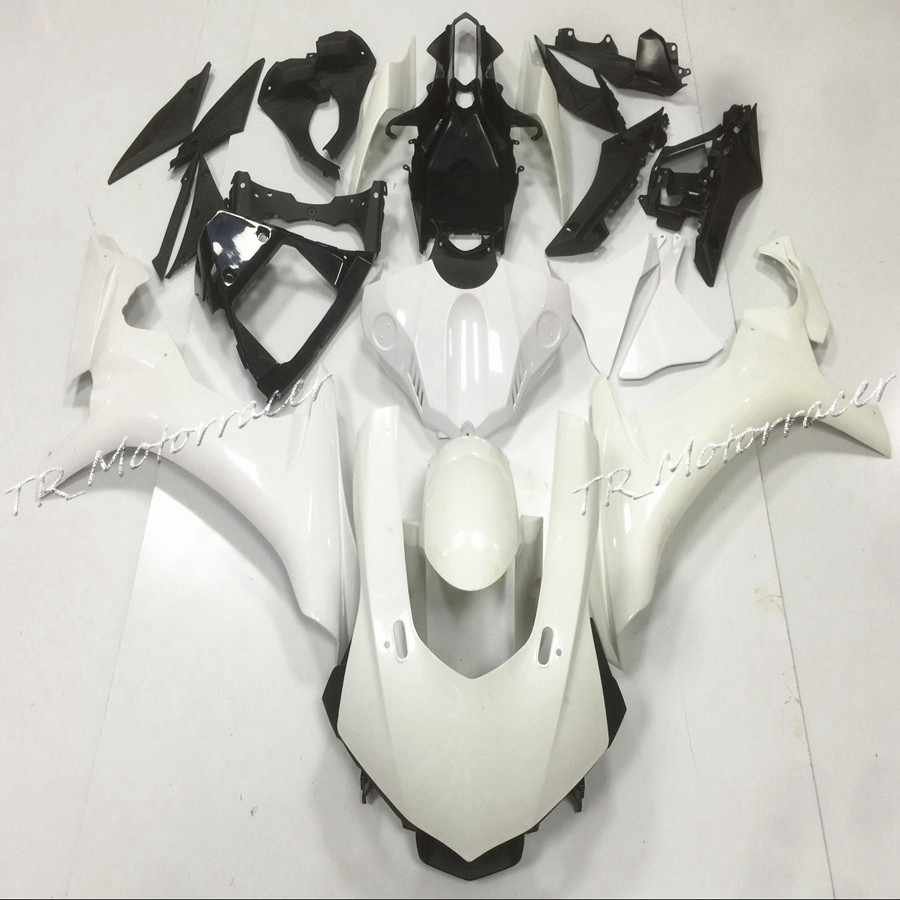 ABS Plastic Unpainted White Injection Fairing Bodywork Kit For Yamaha YZF R1 2015 YZF-R1 White Motor Accessories white blue abs fairing bodywork kit for yamaha fzr250 fzr 250 3ln 1990 1992 91