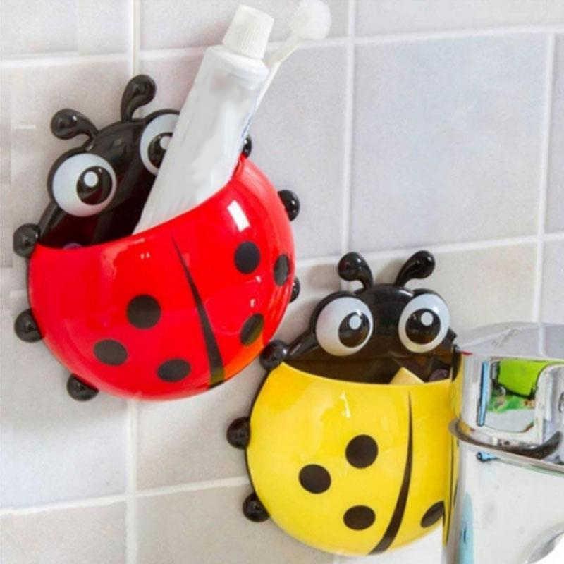 Śliczne zwierząt Sucker biedronka zaprojektowane łazienka dekoracje ścienne uchwyt na szczoteczkę do zębów