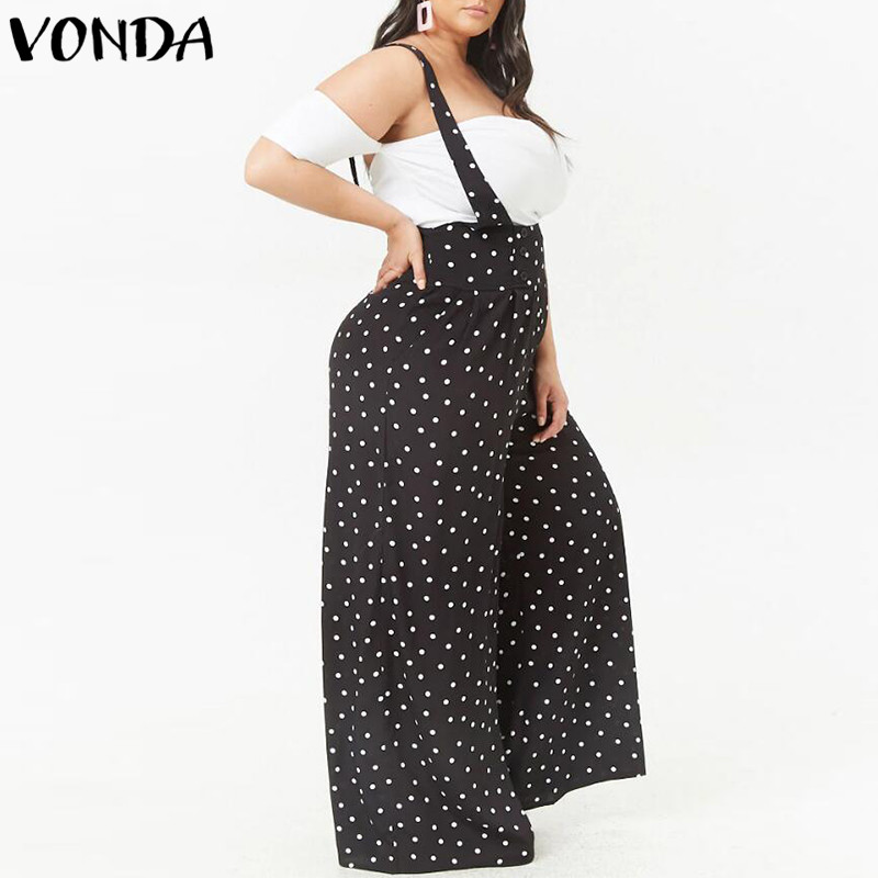 2018 Summer Dot Print Rompers Womens Jumpsuits Sexy Vintage Bodysuit Casual Loose Trousers VONDA Playsuits Plus Size Overalls 1