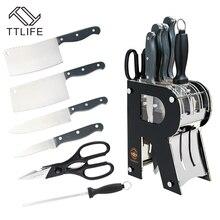 TTLIFE 7 шт. набор ножей из нержавеющей стали+ Овощечистка+ ножницы с черным акриловым блок подставки для ножей кухонный нож инструменты для приготовления пищи