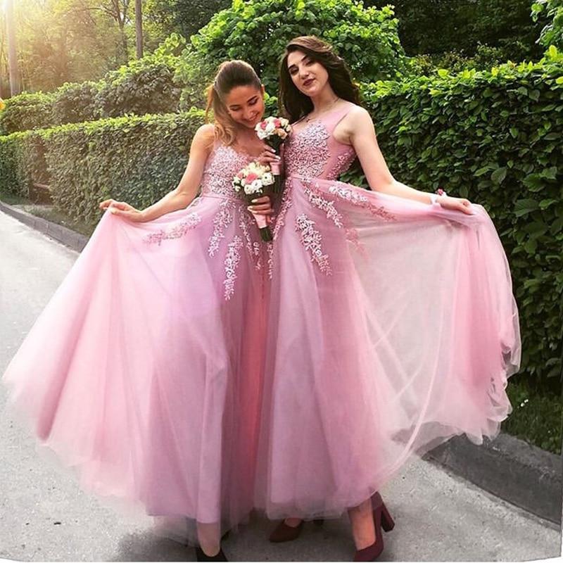 2019 Vestidos De Baile A-line Prom Dresses Illusion Bodice Scoop Neck Pink Tulle Elegant Long Appliques Prom Gowns