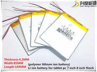 Free Shipping 3.7V 5000mAh 4285104 3 wire Lithium Tablet PC Battery with protection board Polymer battery