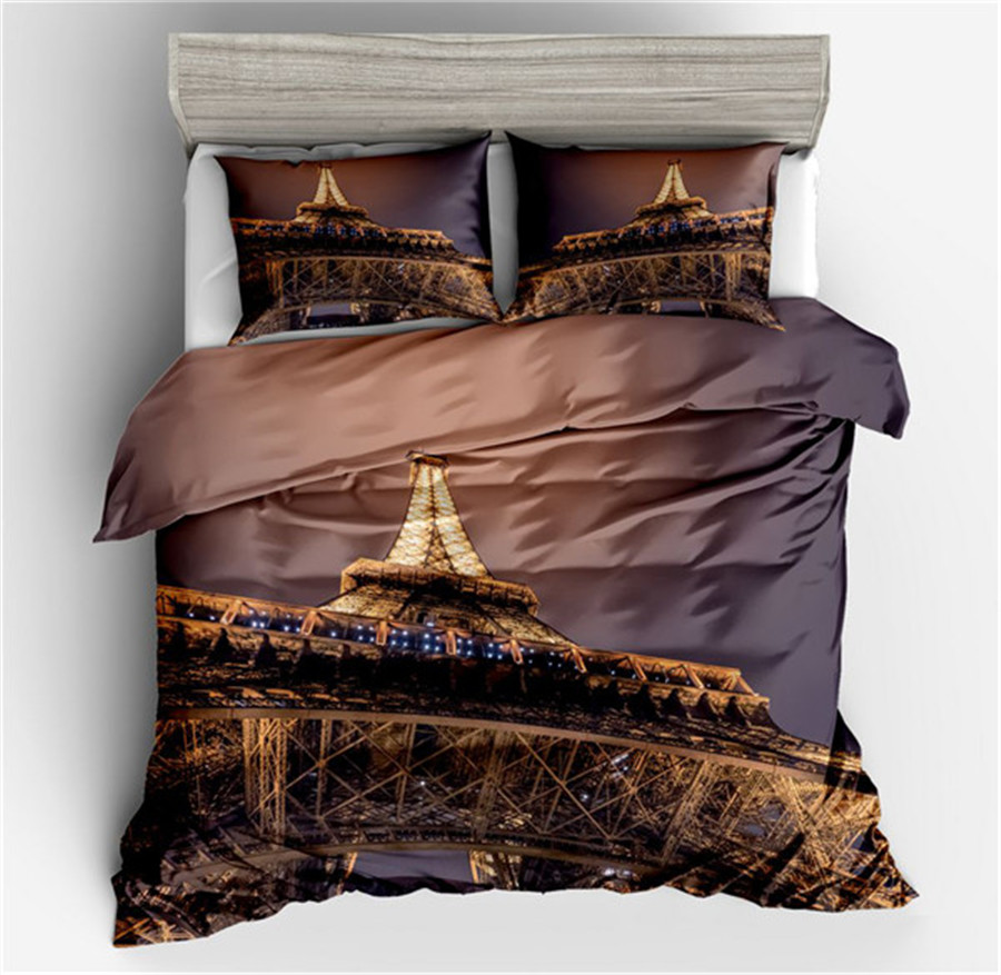 Bedding France Paris Tower Bedding Set Brown and Purple Bed Set Romantic Letters Heart Print Quilt Cover Soft Home Textiles Bedding France Paris Tower Bedding Set Brown and Purple Bed Set Romantic Letters Heart Print Quilt Cover Soft Home Textiles