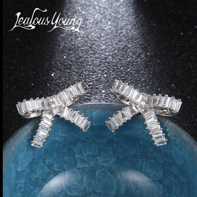 Cổ điển Rose Gold/White Gold Màu Bông Tai Ribbon Knot Pha Lê Stud Earrings Set Phụ Nữ Bông Tai Đồ Trang Sức Thời Trang Oorbellen AE349