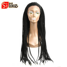 """Silike 24"""" Box Braids Lace Front Wig 350g Synthetic Adjustable Size African American Afro Braiding hair for Black Women 1 PC"""