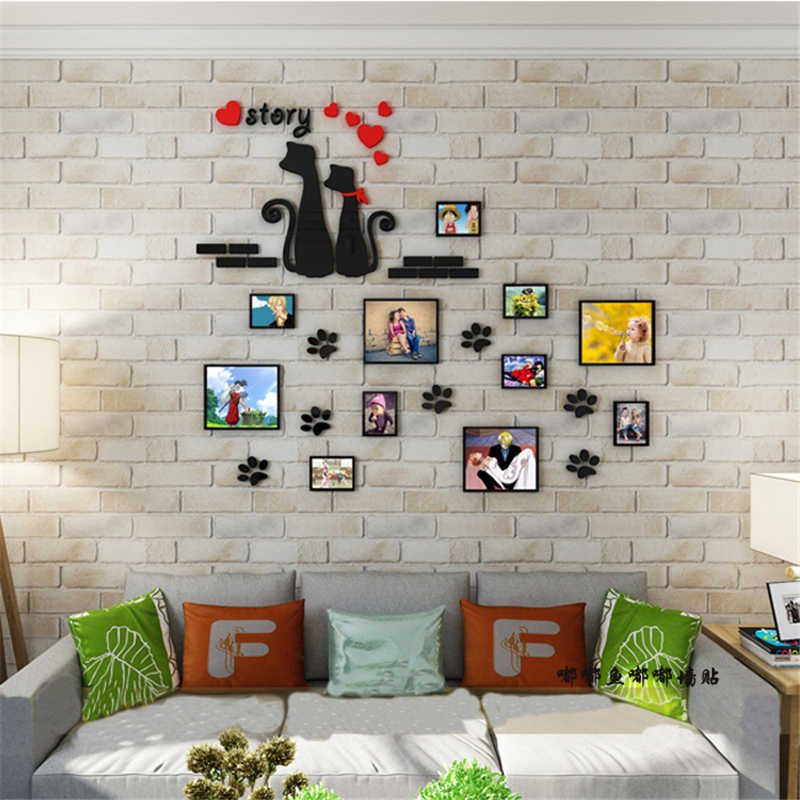 Cat Footprint Family Photo Frames DIY Acrylic Wall Sticker Decals Home Decor Living Room Wall Posters Bedroom Wallpaper XS/S/M/L