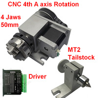CNC A axis rotation 4 jaws Sanou K02 50 2 chuck 4th 4 axis rotary&driver&MT2 Tailstock For Router Woodworking Engraving