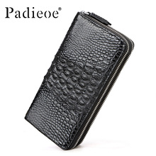 Padieoe Luxury real crocodile leather men wallet large capacity double zipper wallet top quality black brown leather wallets man
