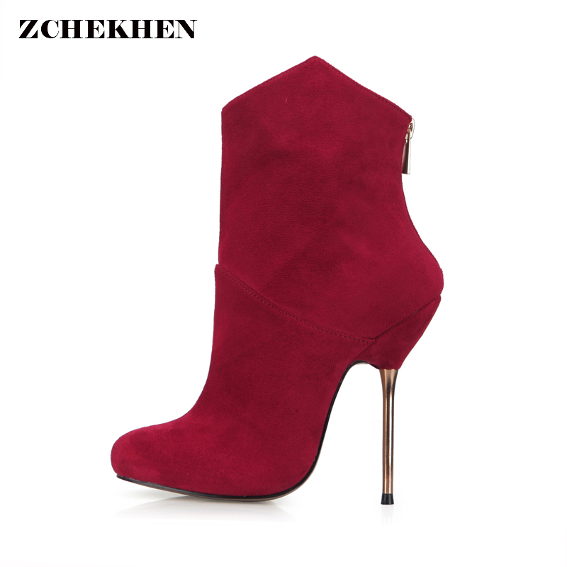 2018 Sexy Pointed Toe thin High Heels Ankle Boots Women gold Metal Heels Fashion Nightclub party wedding Short Boot qplyxco 2017 new big size 34 47 ankle boot short autumn winter sexy women s pointed toe high heels wedding party shoes 584 2