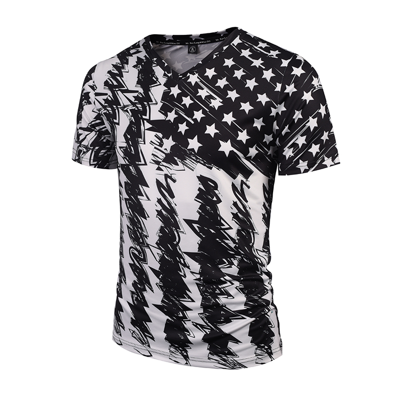 Hot Sal New Fashion Brand Tshirt Men/Women V-neck 3d T-shirt Print Skulls Roses Flowers USA Flag T shirt Summer Tops Tees