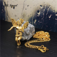 New Gold Cherub Baby Angel Charm W 3mm 24 Inch Miami Cuban Chain Hip Hop Necklace