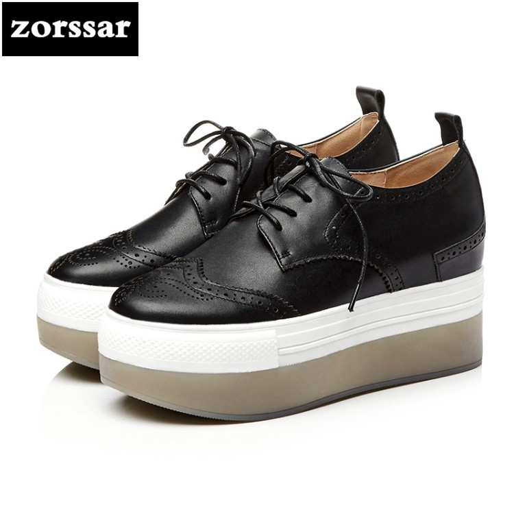 {Zorssar} 2018 NEW Genuine Leather womens Platform shoes Lace-up casual Round toe increased internal High heels Creepers shoes genuine cow leather spring shoes wedges soft outsole womens casual platform shoes high heel round toe handmade shoes for women