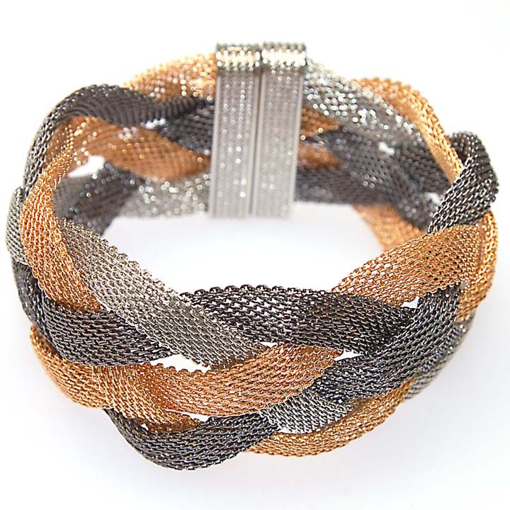 Miasol Brazilian style braided net chain magnetic clasp wrap bracelet design elegant weave hollow cross bracelet