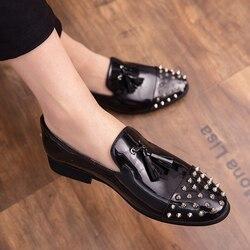 Sapatos formal dos homens ao ar livre clássico borla mocassins homens sapatos de couro deslizamento em sapatas dos homens vestido de luxo elegante sepatu pria sepatu pria