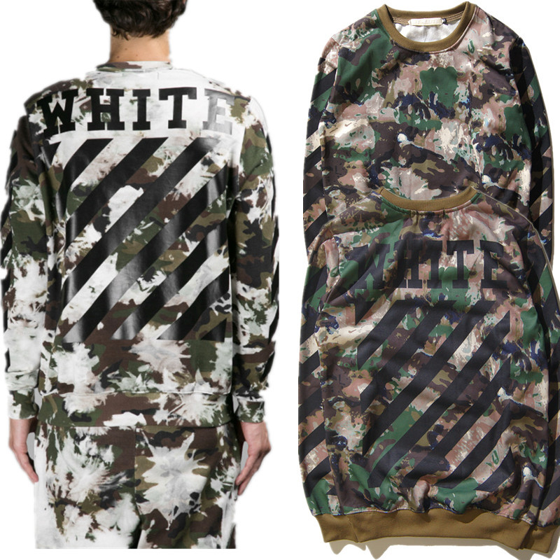 New Tide Brand Off White font b Women b font Men Hoodie High Quality Camouflage army