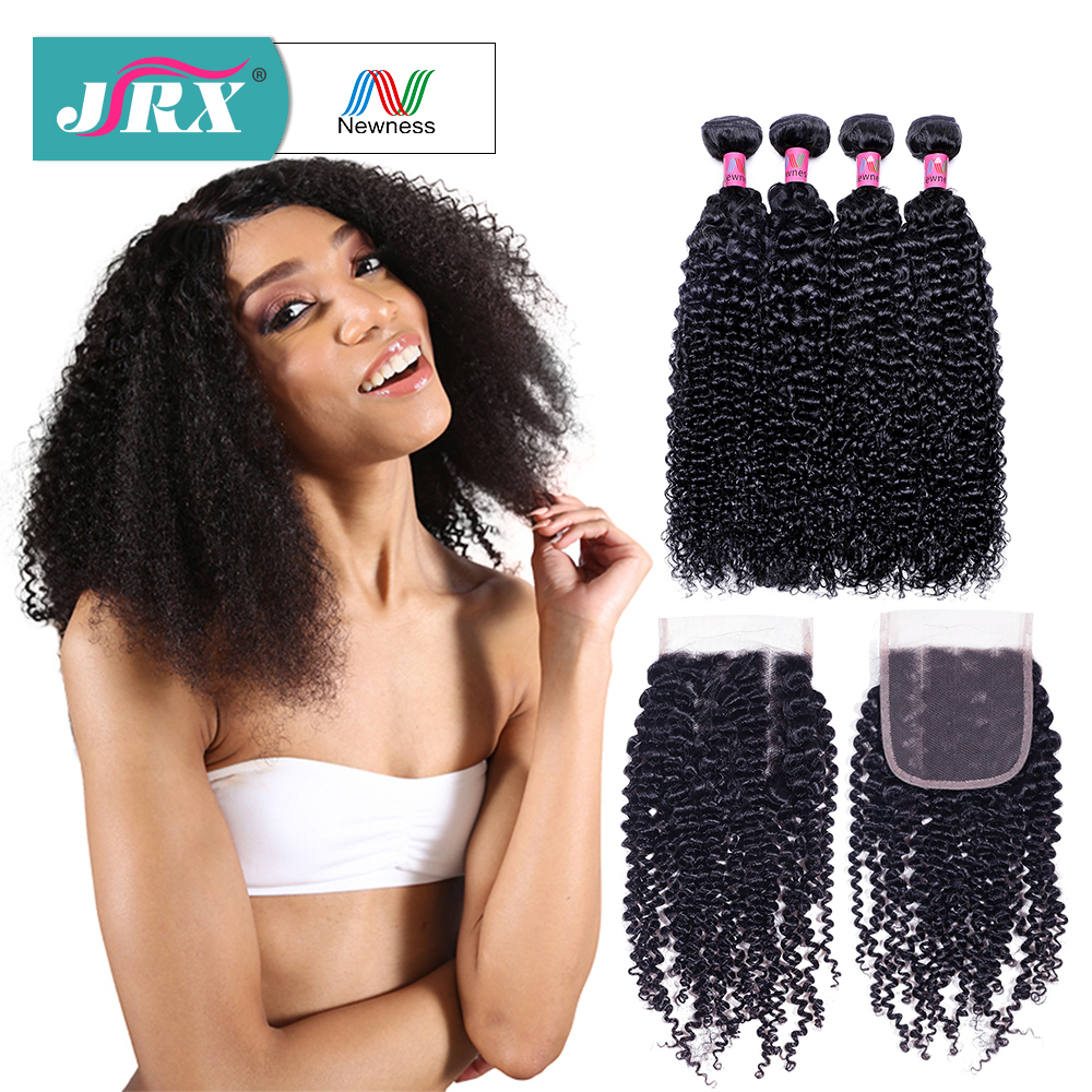 JRX Hair Brazilian 8A Grade Kinky Cruly Wave Hair 4 Bundles with Closure 100% Remy Human Hair Weaving with 4*4 Lace Closure