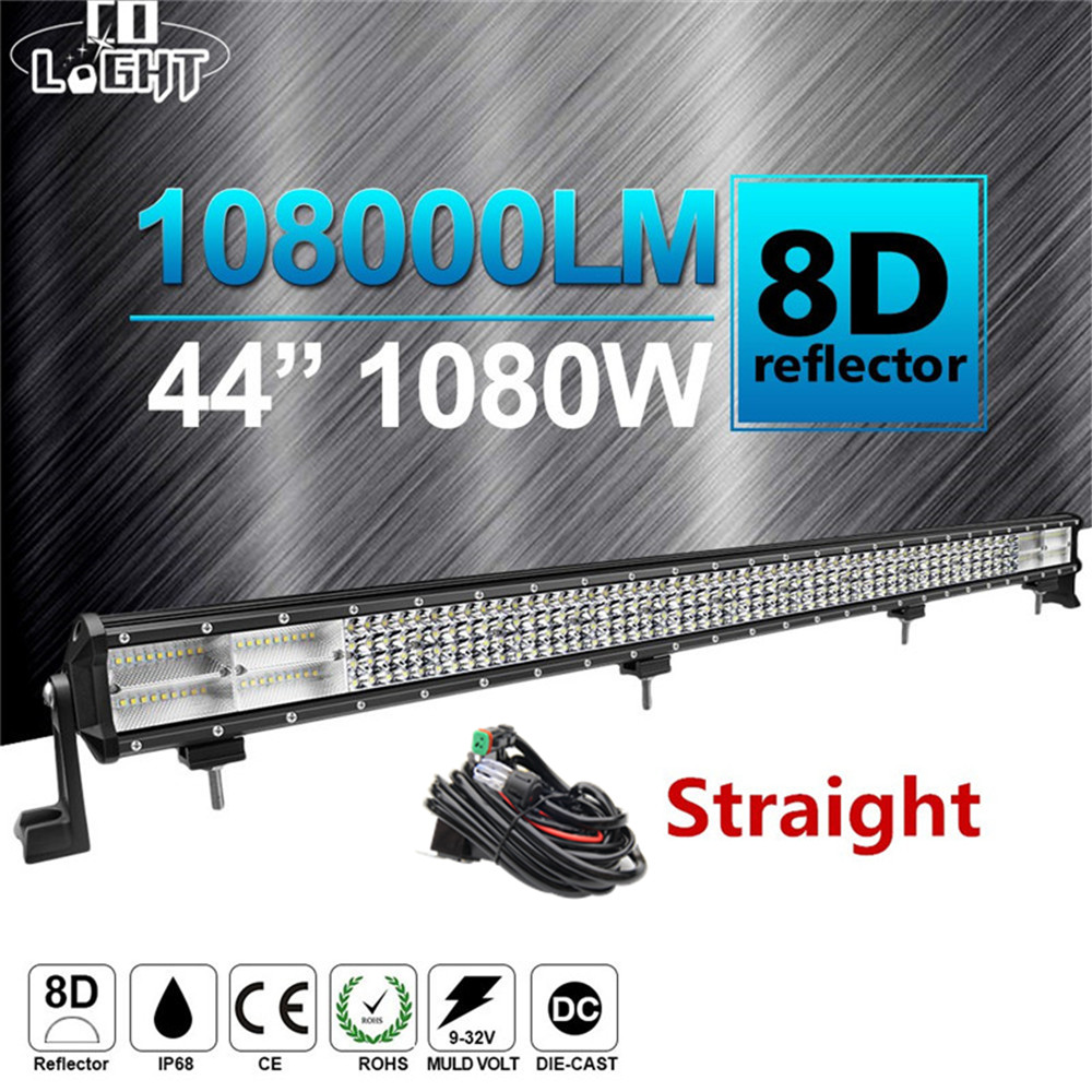 CO LIGHT 8D 4 Row 44 LED Light Bar 1080W Combo Beam Led Bar Work Light