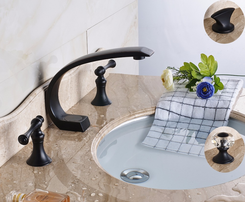 Luxury Deck Mount 3 Holes Three Style Widespread Two Handles Bathroom Tub Sink Faucet Basin Mixer Taps luxury deck mount dual handles bathroom brushed nickel basin faucet 3 holes widespread mixer taps