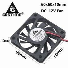 Free Shipping 2pcs/Lot GDT DC 12V 2P 6CM 60mm Brushless cooling fan12v 60x60mmx10mm Cooler 6010s cooling fan цена