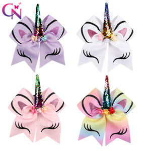 8 Pcs/lot Rainbow Unicorn Cheer Bows With Rubber Band For Girls Kids Reversible Sequin Ponytail Hair Bows Hair Accessories