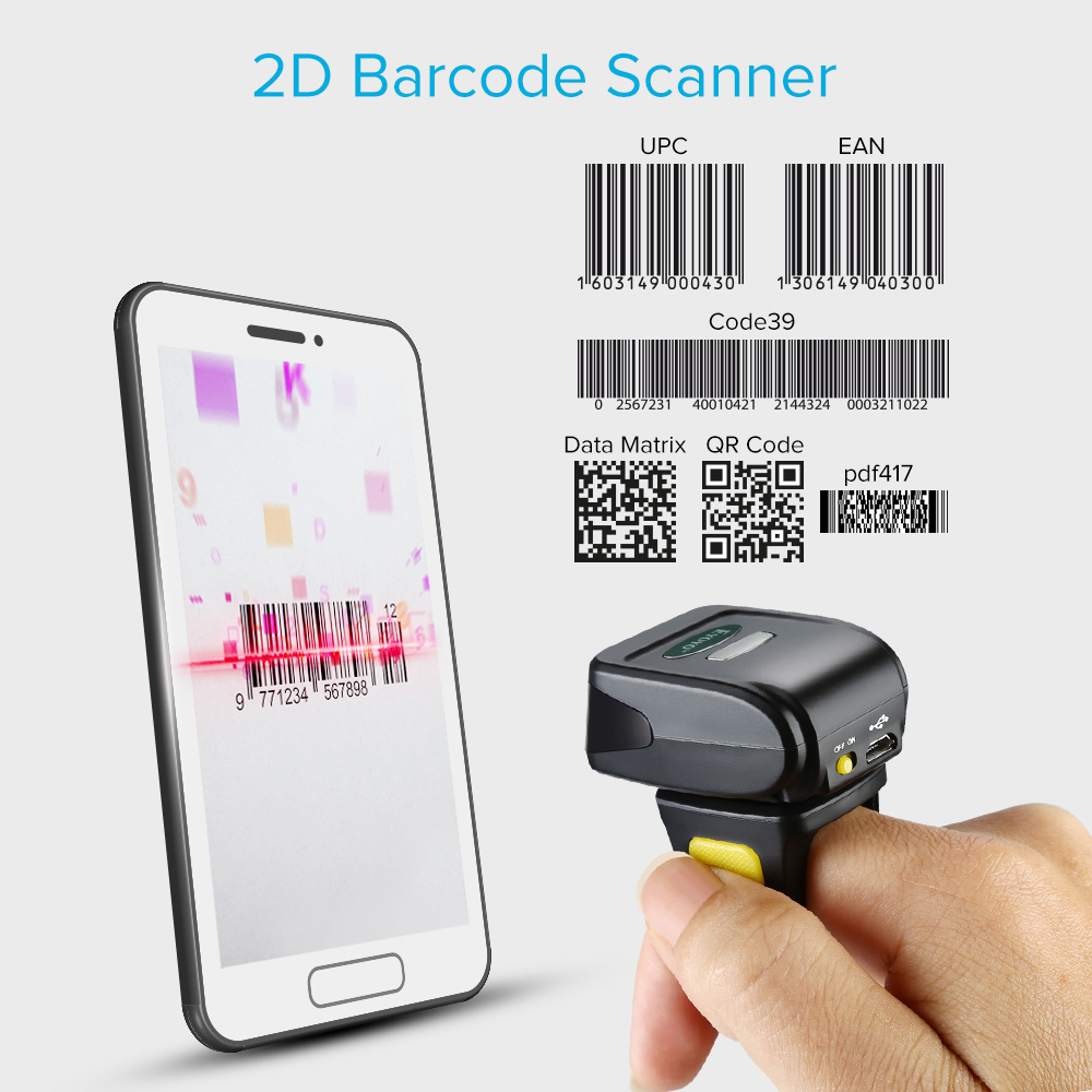 EYOYO R30 2D Barcode Scanner Wireless Bluetooth Barcode Reader For PDF 417  DM QR Code For IOS Android Windows Obd Ii Scanner Obd Scanner From