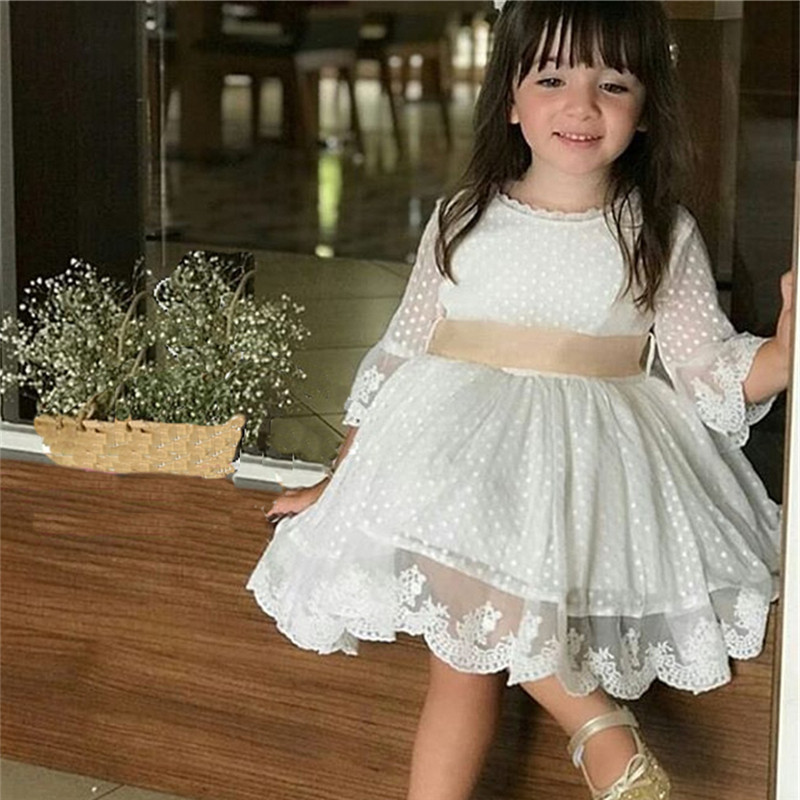US Flower Girl  Lace Dress Toddler Kid Baby Girl Pageant Party Wedding Dreses