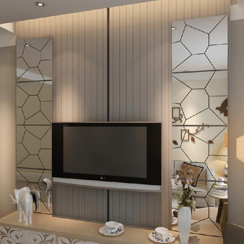 ᗑgeometric patterns 3d acrylic mirror wall stickers home decor wall ...