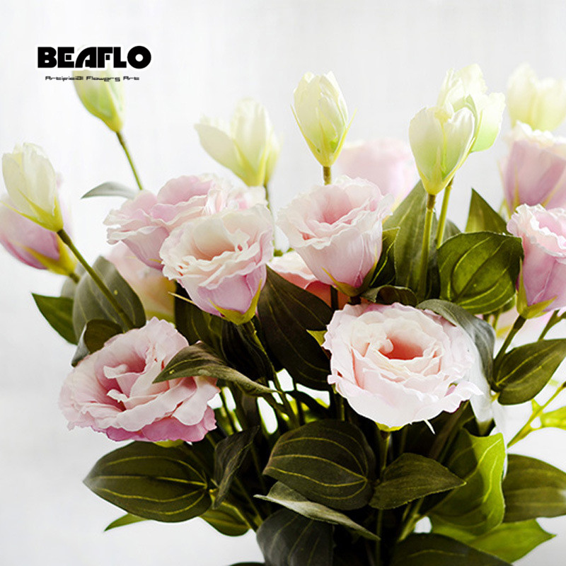 Us 1 62 20 Off 1pc European Artificial Flower 3 Heads Fake Eustoma Gradiflorus Lisianthus Christmas Wedding Party Home Decorative 5 Colours In