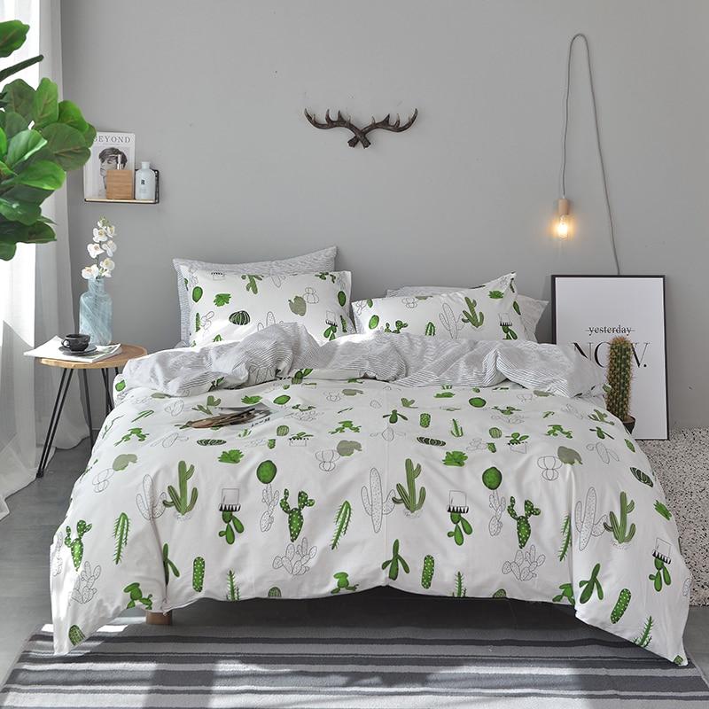 Papa et Mima Pastorale style ensemble de literie cactus impression 100% Coton Reine Roi taille housse de couette drap plat taies d'oreiller